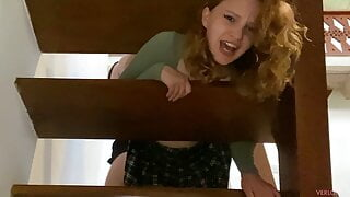 Stepsister got stuck in the stairs without panties